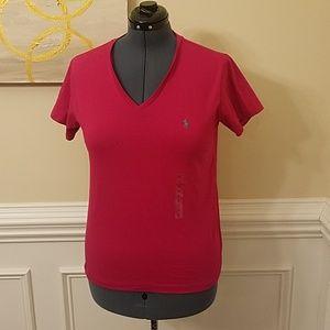 Ralph Lauren V Neck Hot Pink Top